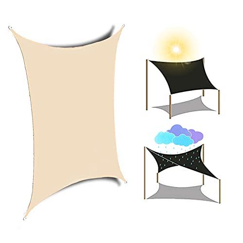 HRD Toldo parasol de color beige y protector solar impermeable al aire libre toldo rectangular 2 x 1,8 m 2 x 4 m para patio, playa, coche, ocio, color blanco y azul
