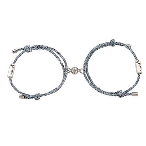 Teblacker Juego de 2 pulseras magnéticas de atracción mutua, pulsera trenzada de cuerda para parejas, regalo de joyas para hombre y mujer, ajustable (# 3)