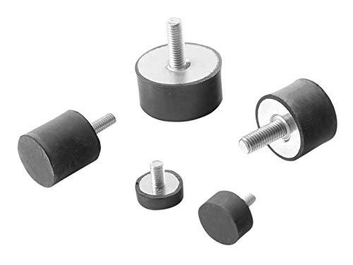 Machinevoet meubelvoet rubber metalen element met eenzijdige schroefdraad diverse maten type D (M6 x 15, 20 x 15)