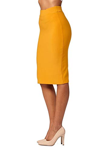 Premium Stretch Pencil Skirt for Women with Slit - Pull On Elastic Waistband - Bodycon Midi Skirts - Classic Mustard - Small