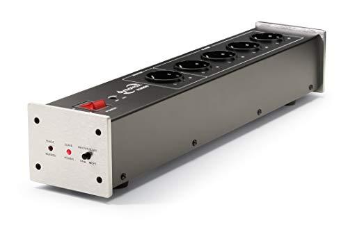 Dynavox HiFi-Netzfilter X2000, Mehrfach-Steckdose mit 5 Steckplätzen, mit LED-Kontrollleuchte für korrekte Phasenlage und Master-Slave Funktion, Silber
