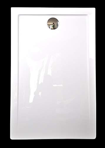 Superflache Duschtasse Duschwanne 100x80 120x80 120x90 140x80 140x90 100x100 Komplett Set flach Rechteckig kratz und rutschfest Hochglanz Weiß Höhe 3,5 cm inkl. Ablaufgarnitur, Größe: 140x90
