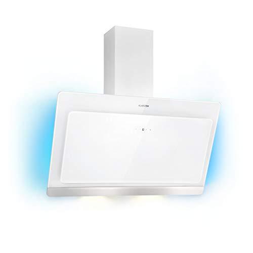 Klarstein Aurora Eco 90 - Wandabzugshaube, Kopffreihaube, Dunstabzugshaube, 90 cm, 550 m³/h Leistung, RGB-Farben, 59 dB leise, Umluft und Abluft, weiß