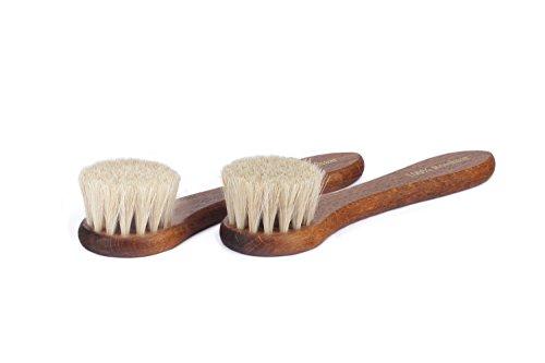 Langer & Messmer 2er-Set Cremebürsten aus Rosshaar (hell/hell) - die Schuhbürste zum Auftragen von Schuhcreme und Schuhwachs