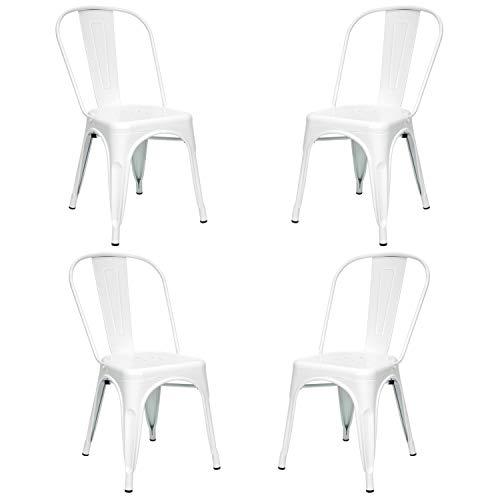 Vaukura Silla Oliix (Pack 4) - Silla Industrial Metálica Brillo (Blanco)