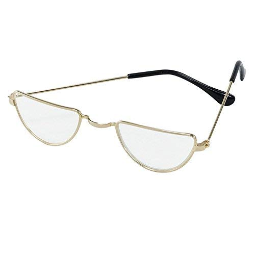 Deluxe Santa Claus Half Moon Spectacles Glasses Gold Father Christmas Harry Wizard Fancy Dress Steampunk Glass Lens Metal Frame