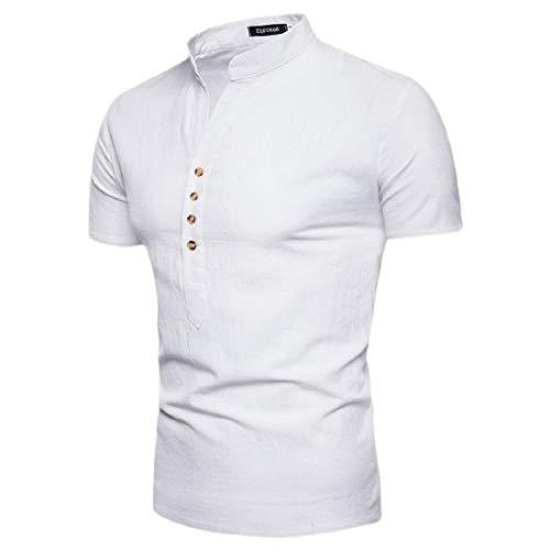 Fubotevic Ropa de Verano de Manga Corta de los Hombres Casual Boton Henley Camisa Cuello Mao White S