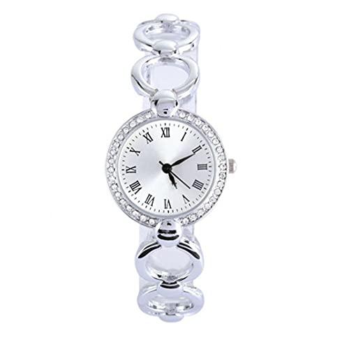 Liadance Las Mujeres observan los Relojes de Pulsera de Movimiento de Cuarzo analógico con Brazalete de aleación Relojes de la Cadena de Acentos de Cristal con batería de botón (Plata)