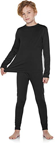TSLA Kid's & Boy's and Girl's Thermal Underwear Set, Soft Fleece Lined Long Johns, Winter Base Layer Top & Bottom, Boy Thermal Set(khs300) - Black, Small