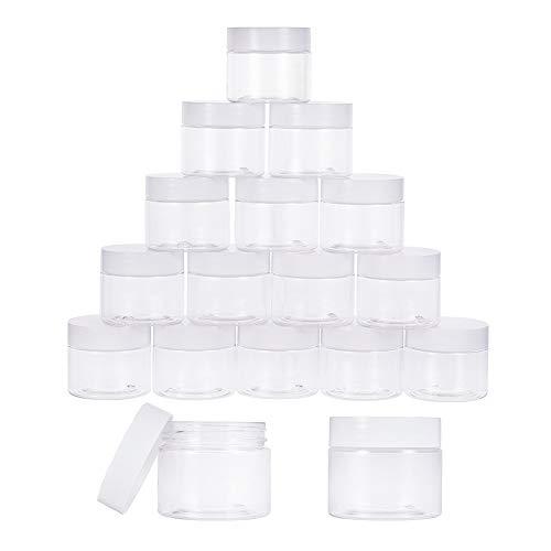PandaHall Elite 18pcs Contenants pour Echantillons en Plastique Transparents avec Couvercles à Vis Blancs Pot à Crème Facial Cosmétique Vide