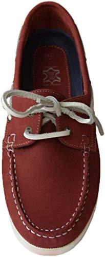 Beverley Originals Herren Leder Bootsschuh Men's Casual Skipper, Farbe:rot, Größe:40 EU