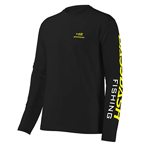 Bassdash Angeln T-Shirt Fishing Shirt Langarm Hemd Fischerhemd Angelbekleidung UPF UV Sonnenschutz (Schwarz/Gelbes Logo, Large)