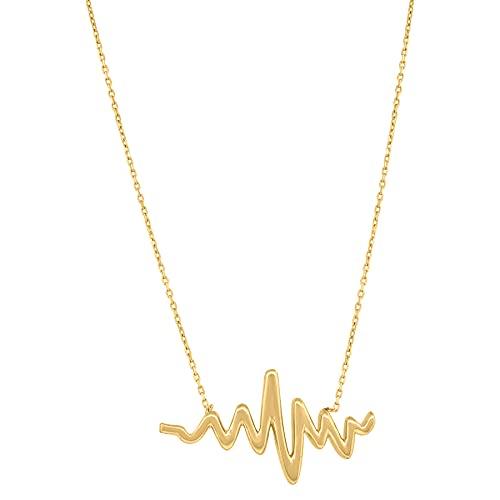 Collar con colgante de oro amarillo de 14 quilates con acabado pulido y corazón para mujer, mide 13,1 x 24,7 mm de ancho, para regalo de joyería para mujer