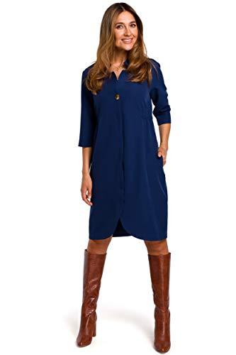 Vestido Tipo Blazer - Azul Marino, 42  SG