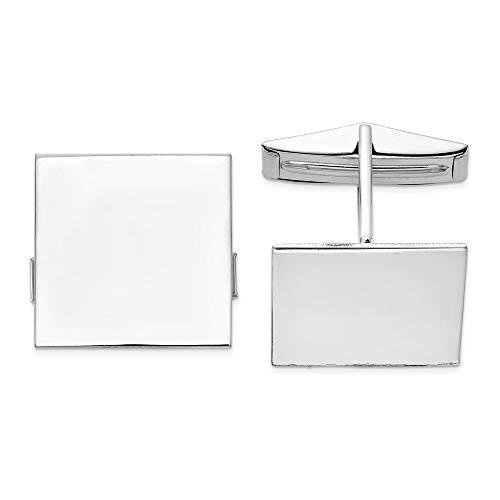 Or blanc 14 carats JewelryWeb de manchette-Carré