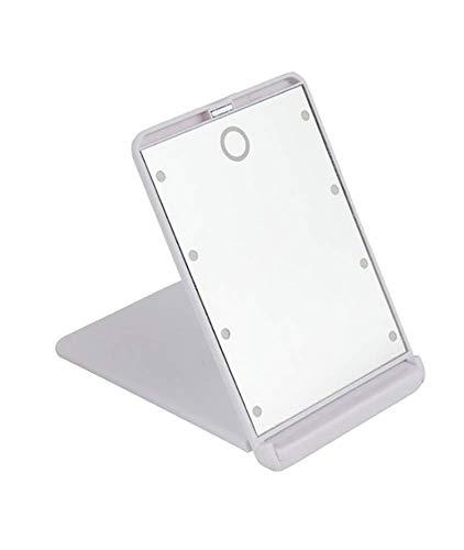 Miroir de maquillage de voyage compact et lumineux à LED grossissement 1X et 2X 8 lumières LED lumineuses pliantes portables miroirs cosmétiques miroir de poche,White