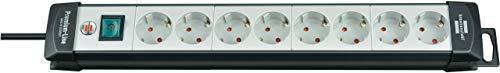 Brennenstuhl Premium-Line regleta de enchufes con 8 tomas de corriente (cable de 5 m, con interruptor, Hecho en Alemania) negro/gris