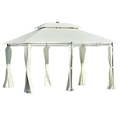 Outsunny Carpa de Jardín 4x3 m Cenador con Doble Techo 6 Cortinas Laterales Luz LED con Panel Solar para Patio Terraza Color Crema