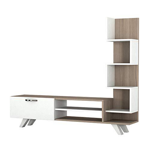 Alphamoebel 1773 TV Board Lowboard Fernsehtisch Fernsehschrank Sideboard, Fernseh Schrank Tisch für Wohnzimmer, Weiß Cordoba, 149,5 x 22 x 131,6 cm