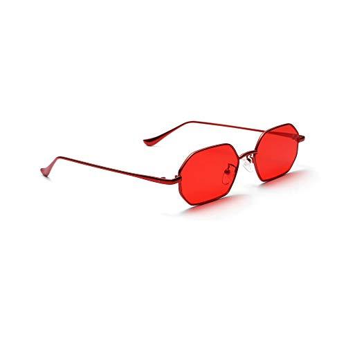 DGSDFGAH Gafas De Sol Mujer Gafas De Sol Polarizadas para Hombres/Mujeres Retro Moda Unisex Gafas De Sol Poligonales Pequeñas Clásicas Retro Rojas Hombre