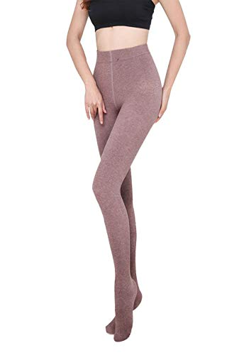 Yulaixuan Womens Opaque Cotton Fleece Lined Tights Estribo de lana Medias gruesas pisotear pantalones cálidos Villi Leggings