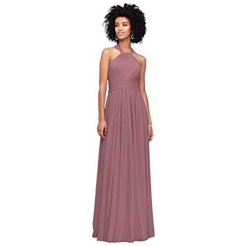 David's Bridal High-Neck Mesh Bridesmaid Dress with Full Skirt Style F19931, Quartz, 0