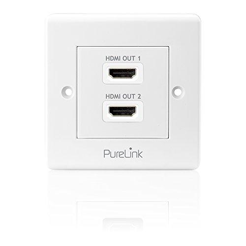 PureInstall PI105 High Speed HDMI Anschluߟdose mit Ethernet Kanal (HDMI A Buchse auf HDMI A Buchse), zertifiziert, 2-fach, Kabelpeitsche, 0,1m