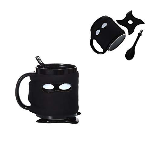 Hosoncovy Taza creativa de ninja fresca taza de café de dibujos animados taza de bebida con posavasos y cuchara resistente al calor taza de café con mango