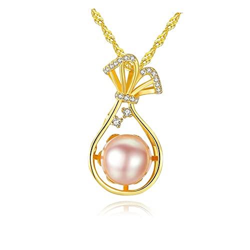 LILY123 Collana di Perle d'Acqua Dolce S925 Catena d'onda d'Acqua in Argento Sterling Moda Donna Ciondolo di Perle Compleanno San Valentino Festa della Mamma Gioielli Regalo di Natale