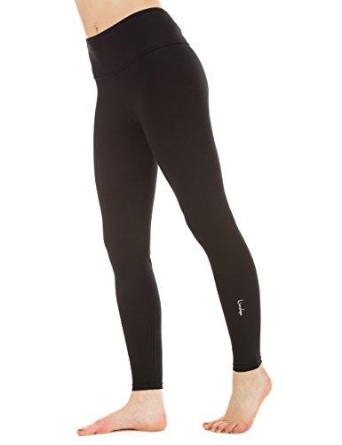 Winshape Damen Fitness Freizeit Sport Yoga Long Slim Tights Leggings, schwarz, L