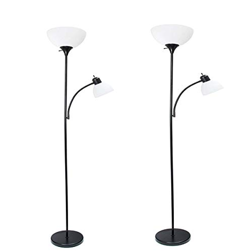Simple Designs Home LF2000-BLK Mother-Daughter Floor Lamp with Reading Light 71 x 20.47 x 11.35 inches, Black (Pack of 2)