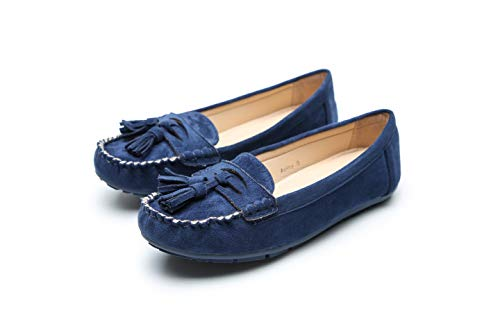 Comfortable Foldable Slip On Loafers Moccasins Driving & Walking Flats Cushioned Insole Shoes for Women, Ashley Navy Size 11