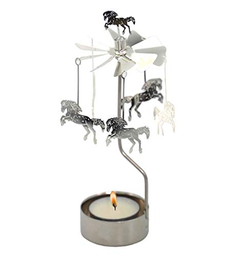 HOKHBCW Rotary Candle Holder Spinning Candleholder Metal Small Gift (Horse)