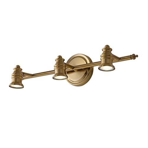 Lámparas de espejo LED vintage Apliques giratorios creativos Luz clásica de espejo de latón Lámpara de espejo nórdico para baño con focos LED IP 44 18cm de la pared, 3- cabeza