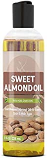 Sweet Almond Oil (8 fl oz) by Pure Organic Ingredients, Improve Overall Skin Complexion, For Fine Lines & Wrinkles, Relieve Dry & Cracked Skin, Healthier Hair & Nails, For All Skin Types