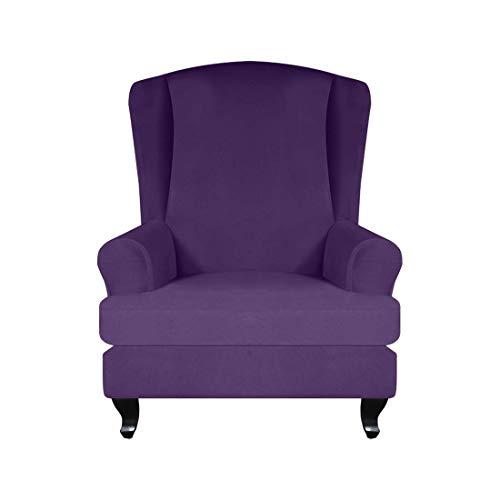 MWyanlan 2 Stücke Ohrensesselbezug Sessel-Überwürfe Ohrensessel Überzug Bezug Sesselhusse Elastisch Stretch mit Kissenbezug- Lila