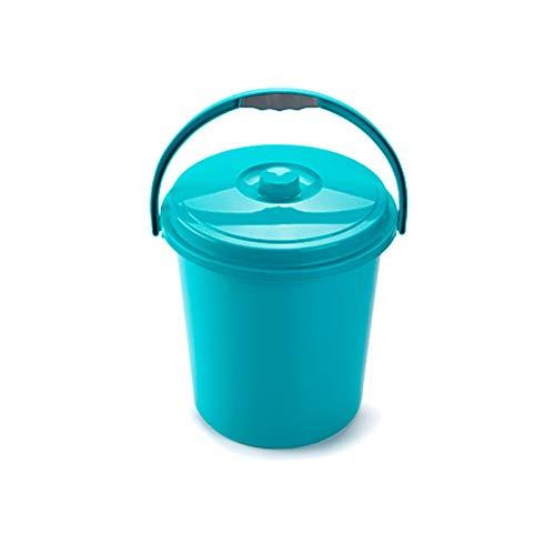 Cubo Basura Eco Redondo con Tapa y Asa 21 Litro 37 x 34 x 40 cm Disponible Rojo Azul Verde elegir color que te más gusta (Azul)