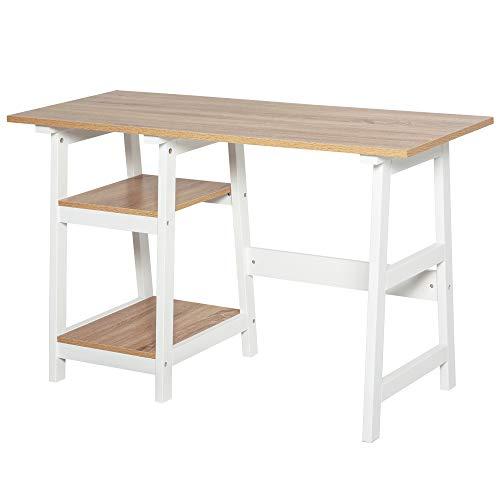 HOMCOM Schreibtisch mit Bücherregal, Computertisch, Bürotisch, Spanplatte, Natur+Weiß, 119,5 x 51 x 74 cm
