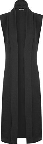 WearAll - Femmes Longue Midi sans Manches Ouvert Plaine Veste Cardigan Haut Gilet - Noir - 40-42