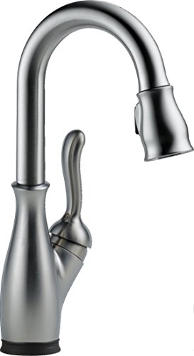 Leland Single-Handle Touch Kitchen Faucet with Pull Down Sprayer, Kitchen Sink Faucet Touch, Delta Touch2O Technology, Arctic Stainless - Delta Faucet 9678T-AR-DST
