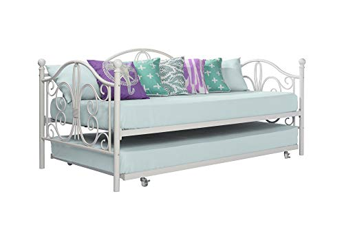 DHP Bombay Metal Twin Size Daybed Frame with Included Twin Size Trundle - White