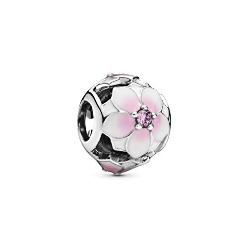 Pandora Jewelry Openwork Pink Magnolia Flower Cubic Zirconia Charm in Sterling Silver
