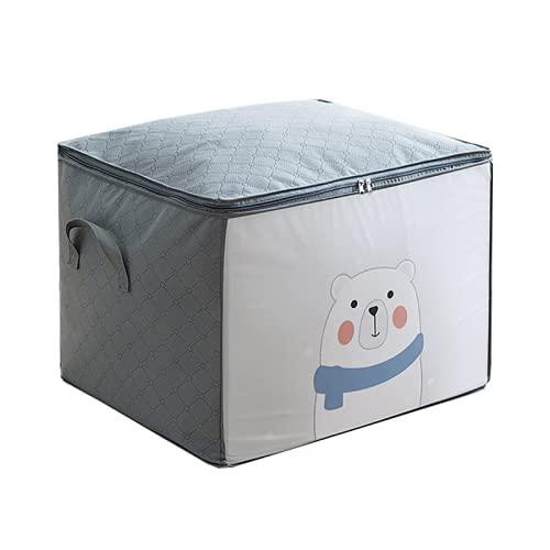 JTKJ Organizador de ropa bolsa de almacenamiento armario de dibujos animados caja portátil plegable almohada manta armario mover accesorios de casa gris A