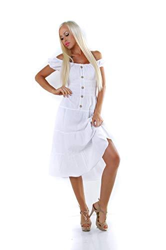 OSAB-Fashion 11502 dames zomerjurk korte mouwen jurk kuitlengte Stufenrock Gesmokte knoppen