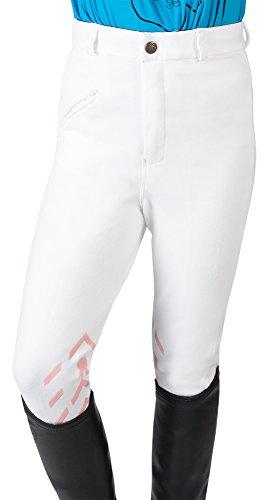 PFIFF Silikon-Grip Kniebesatz Reithose Piccola Kinder Weiß-Rosa 128