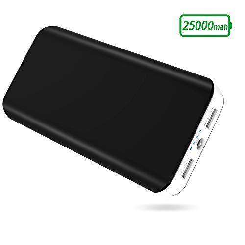 Batería Externa 25000mAh, Cargador Portátil Movil Alta Capacidad con 2 USB Puertos, Linterna LED de 4 Modos Power Bank para iPhone, Huawei, Samsung, Android, Tabletas y más Dispositivos-Blanco