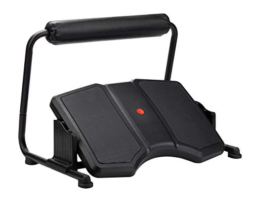 Mind Reader Active Adjustable Footrest for Under Desk, Ergonomic Tilting Design with Padded Leg Support, Non-Slip Surface, Customizable Height Levels, Black