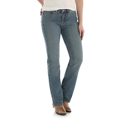 Wrangler Women's Aura Instantly Slimming Mid Rise Boot Cut Jean, Tinted Mid-Stone, 16 Tall