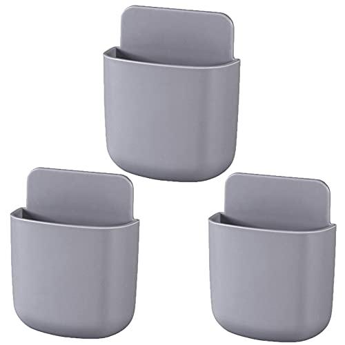 Soportes de control remoto para montaje en pared, soportes adhesivos para bolígrafos (3 unidades, gris)