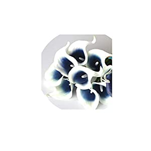 Navy Blue Picasso Calla Lilies Real Touch Flowers for Wedding Bouquets Centerpieces Artificial Flowers for Wedding,White Navy